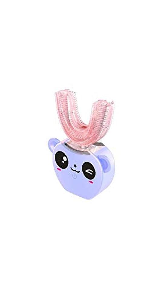 均等にバッジインゲン子供の口と歯ブラシシリコーン電気超音波歯ブラシ360°インテリジェント自動防水歯ブラシ,Purple
