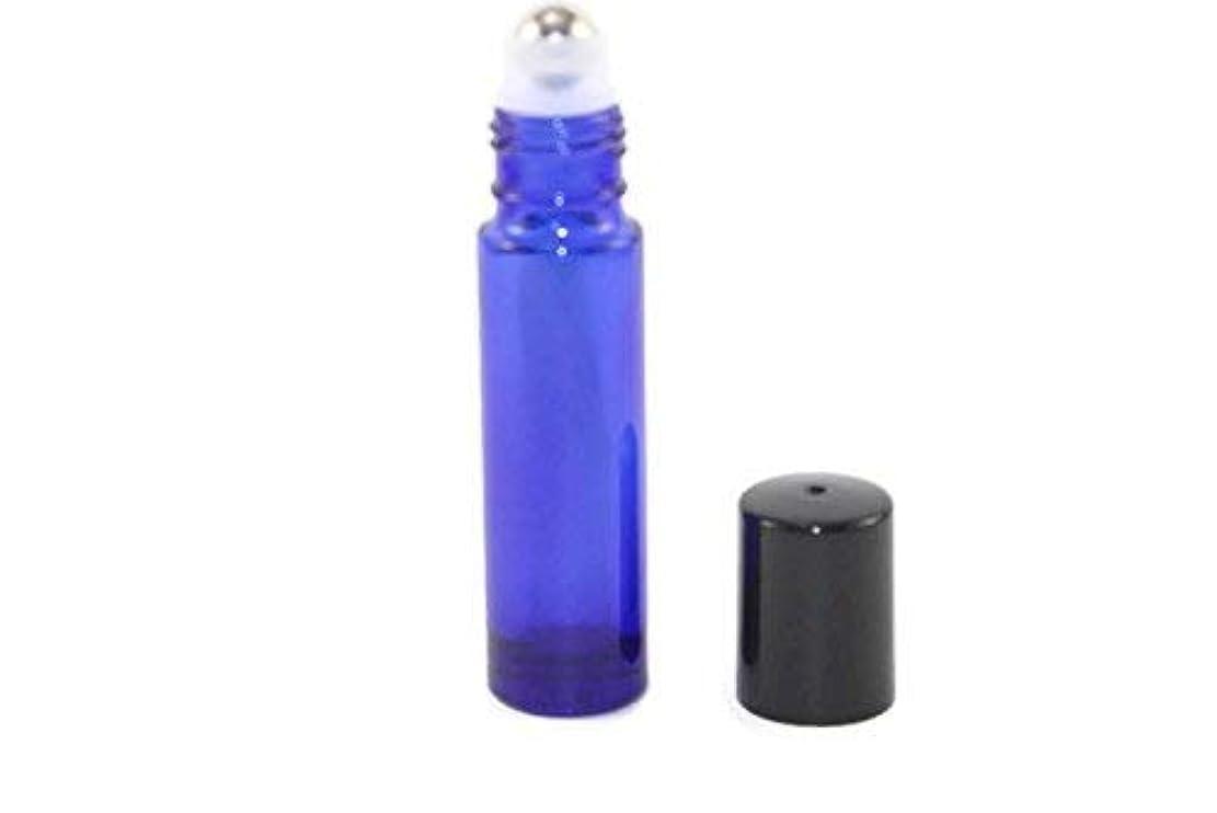 学校教育ヒールペンダントUSA 144-10ml COBALT BLUE Glass Roll On THICK Bottles (144) with Stainless Steel Roller Balls - Refillable Aromatherapy...