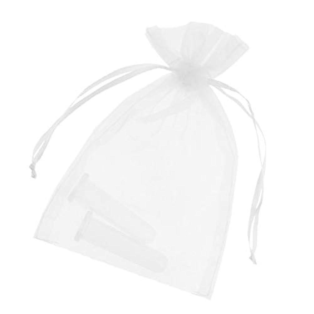 Baoblaze シリコンカッピング吸い玉 真空カッピング デトックス マッサージカップ 収納ポーチ付き顔用2個全2色 - ホワイト