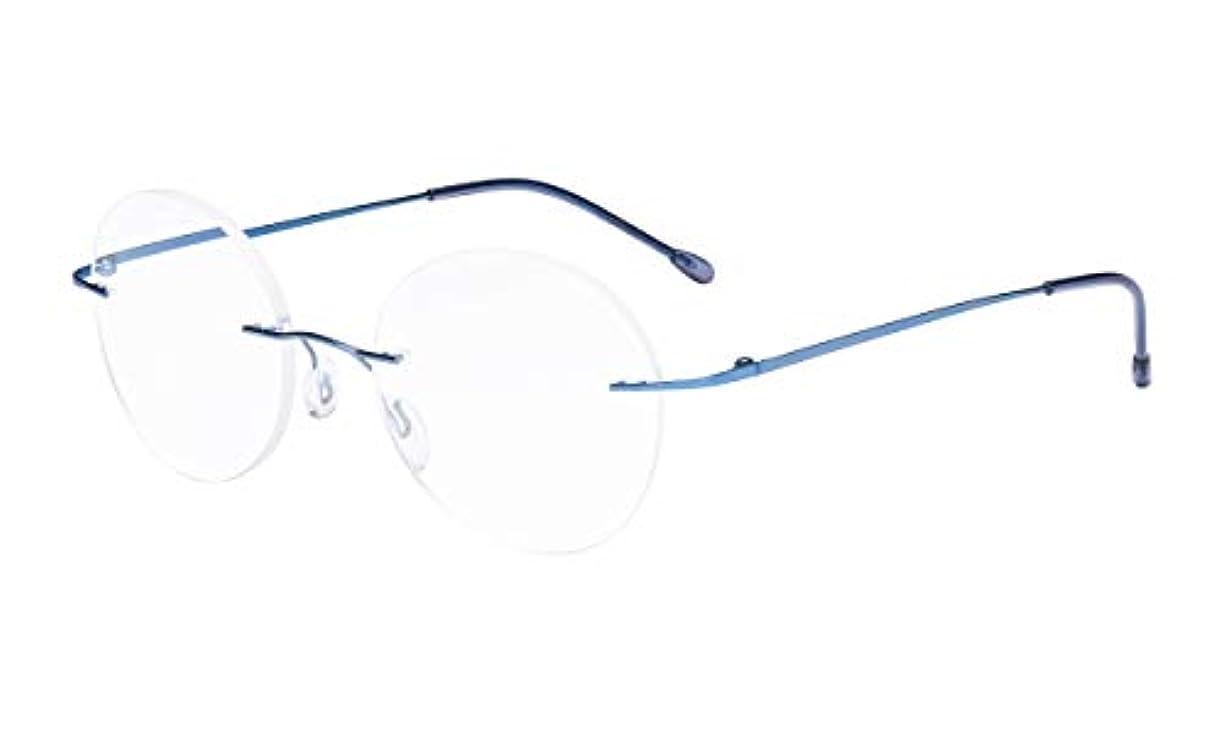 つかむうっかり分注するアイキーパー(Eyekepper)パソコン用リーディンググラス(老眼鏡) メンズ リムレス 丸型 軽量 PCメガネ メガネ拭きとケース付き メンズ用 ブルーフレーム+3.00