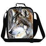 (Wolf3) - Generic Wolf Printing Lunch Bags for Boys Cool Mens Work Lunch Bag Adults Food Bag