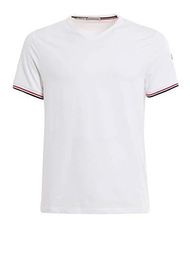 【35】MONCLER モンクレール 19SS『Slim Fit』ホワイト トリコロール Vネック 半袖 Tシャツ [8100800 87296] [並行輸入品]