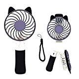 Elekfx 猫耳型USB扇風機  Miniポータブル折り畳み式  可愛い小型ファンファン 手持ち 1800 mAhバッテリー内蔵 充電式 卓上ミニ扇風機 風量3段階調節 小さいのに圧倒的な風力 いつでもどこでも涼しい夏 携帯便利