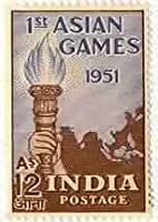 04 Mar '51 1st Asian Games Sports Asian Games Burning Torch Flame Hand 12 Anna