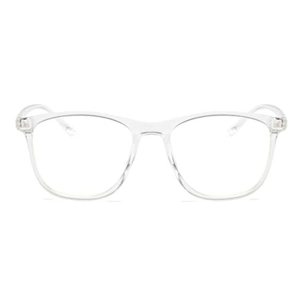 真実四面体批判的韓国の学生のプレーンメガネ男性と女性のファッションメガネフレーム近視メガネフレームファッショナブルなシンプルなメガネ-透明ホワイト