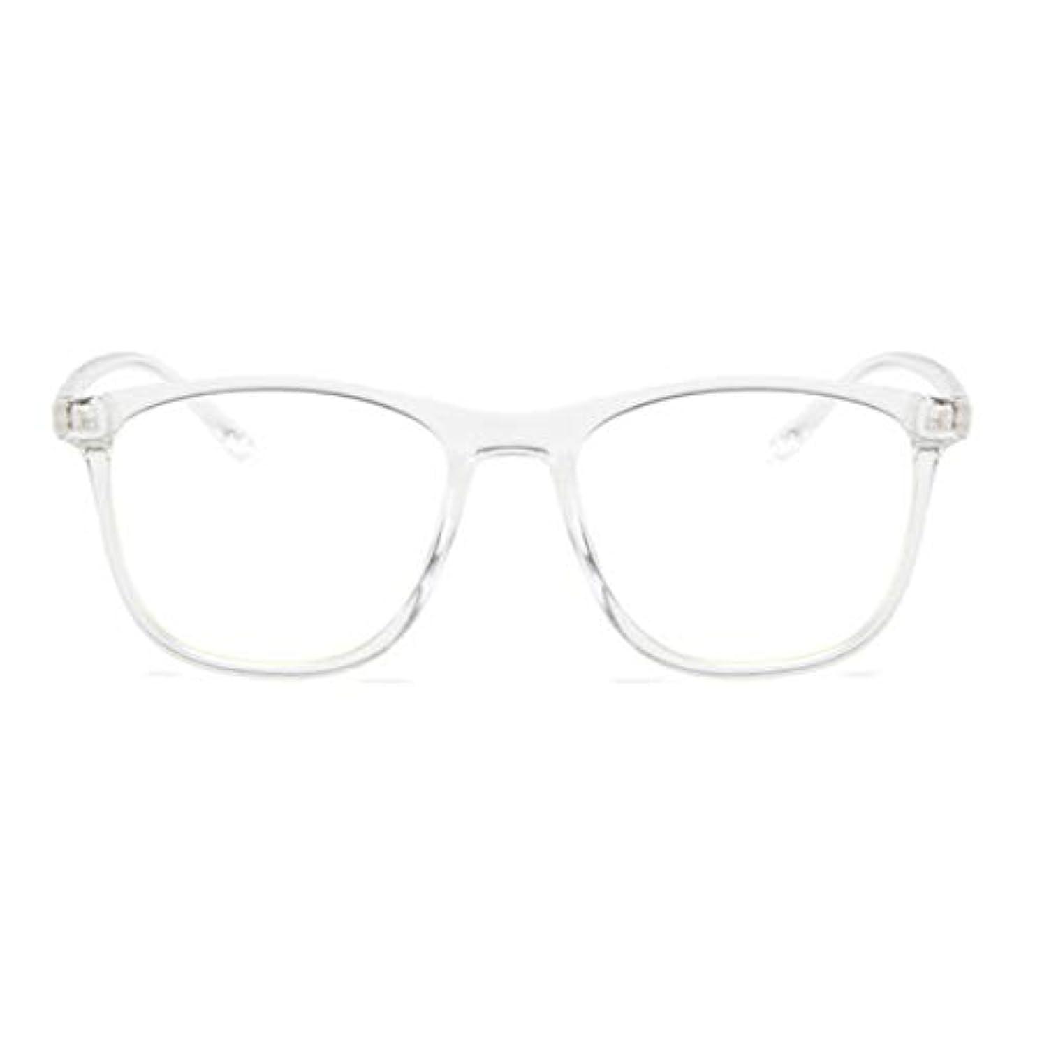 液体アクセサリー雨韓国の学生のプレーンメガネ男性と女性のファッションメガネフレーム近視メガネフレームファッショナブルなシンプルなメガネ-透明ホワイト