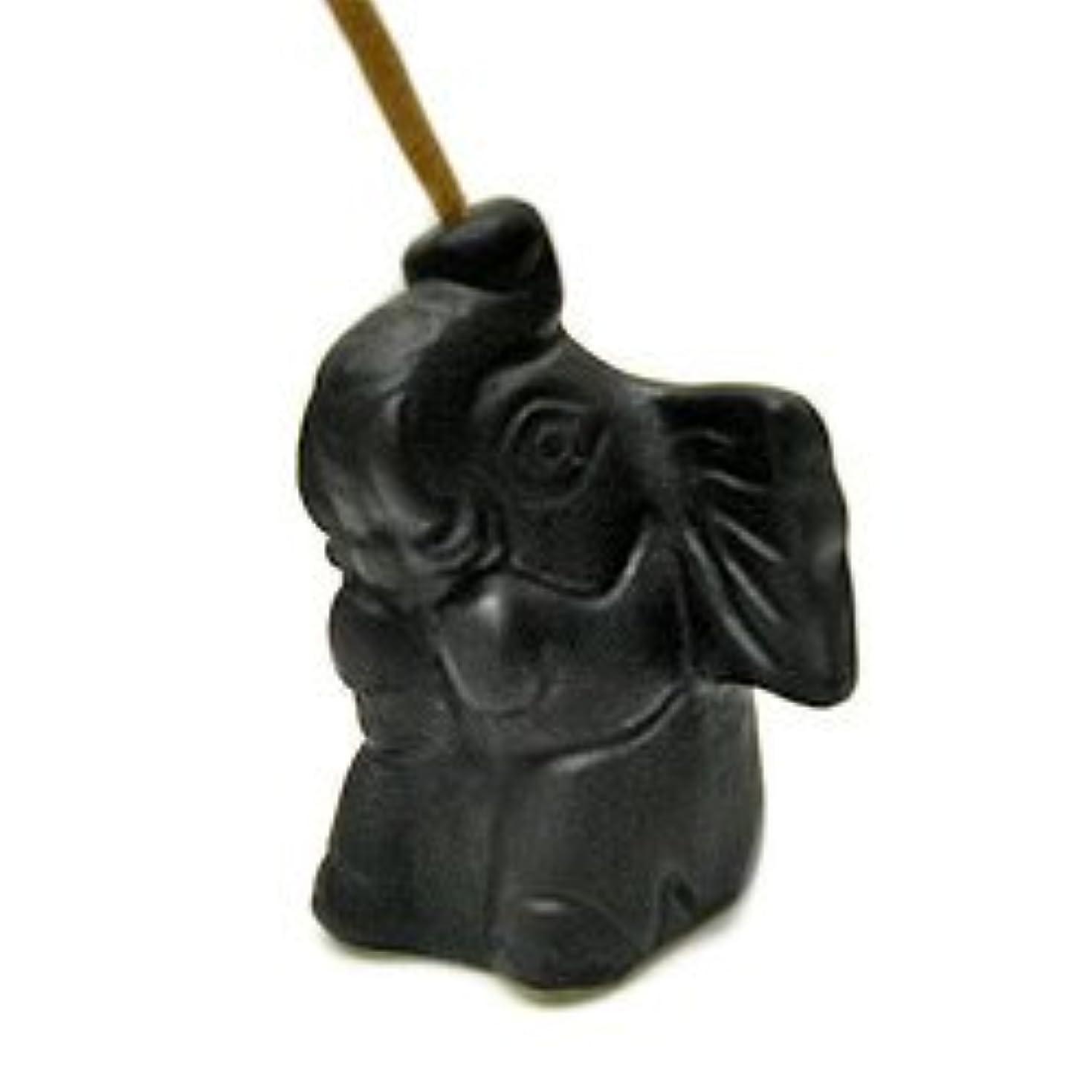 挨拶する探す有力者象さんのお香立て <黒> インセンスホルダー/スティックタイプ用お香立て?お香たて アジアン雑貨