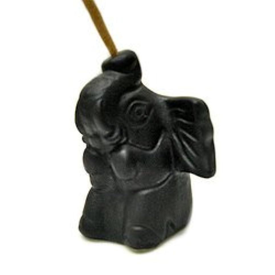 記念日届ける導出象さんのお香立て <黒> インセンスホルダー/スティックタイプ用お香立て?お香たて アジアン雑貨
