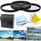 58mm 3ピース複数コーティングフィルタキット(UV、CPL、FLD)for Panasonic Lumix G X Vario 12–35mm f / 2.8+クリーニングキット+マイクロファイバークリーニングクロス