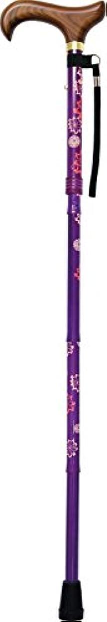 革命的ロール熟すサントス 楽々コンパクトステッキ パープル 最長85cm