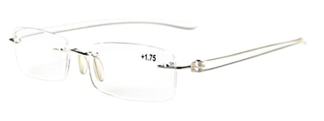 スラム街肌寒い保護アイキーパー(Eyekepper)読書用 小さいレンズ リム 縁 なし メンズ レデイース リーディンググラス シニアグラス 老眼鏡 ケース&クロス付 (+1.25, クリアテンプル)