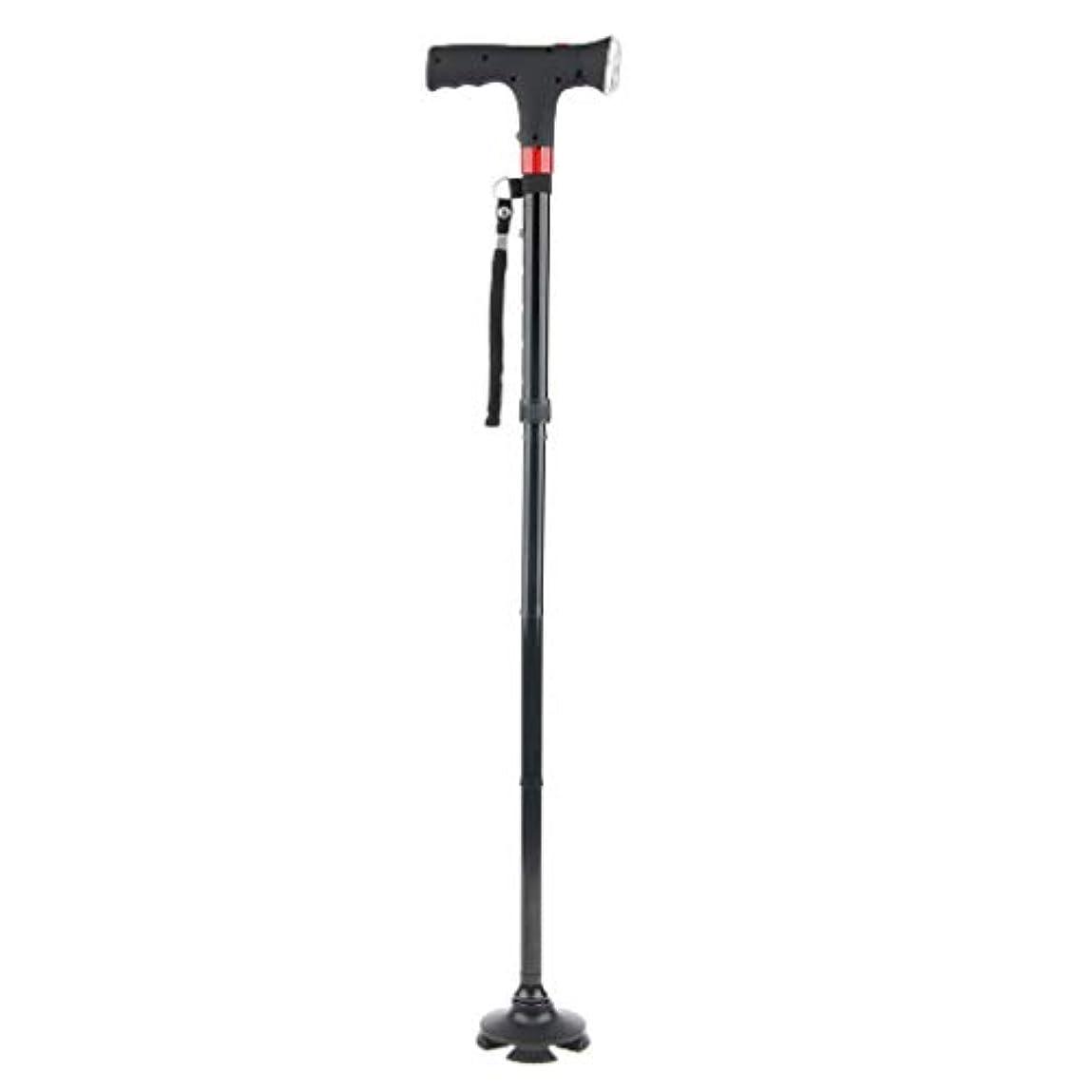 雷雨近く製作折り畳み スティック 調整可能 歩行補助 介護 高齢者 LEDライト 軽量 ステッキ 四足 滑り止め