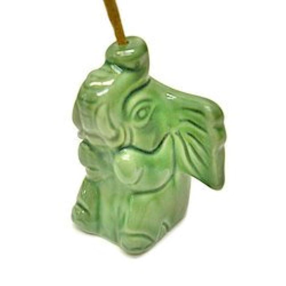 医療過誤隠囲い象さんのお香立て <緑> インセンスホルダー/スティックタイプ用お香立て?お香たて アジアン雑貨