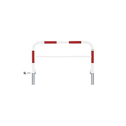 FL96793 直送 スチール製バリカー 横型・コノ字型・アーチ型・U字型車止めポール(スタンダードタイプ) 中桟付・中桟あり φ60.5xt2.8 W1500 H800(mm) 赤白色