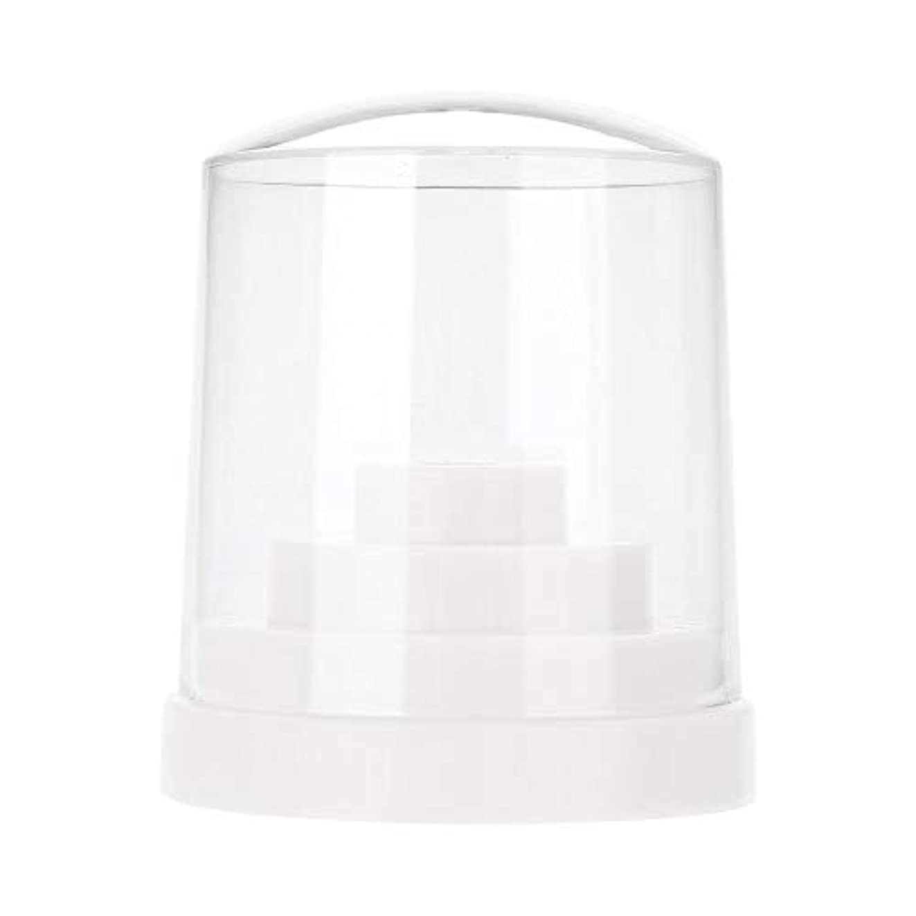 霧深い赤ちゃんピストンネイルドリルスタンド、48穴ネイルアートプラスチックネイルケアドリルスタンドホルダードリルビットディスプレイオーガナイザーボックスアートアクセサリー(白)