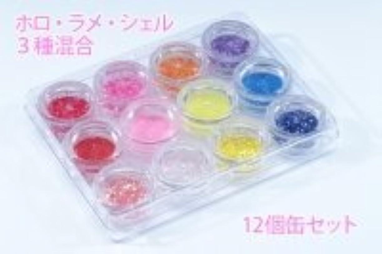 ホロ、ラメ、シェル3種混合【12個缶セット】