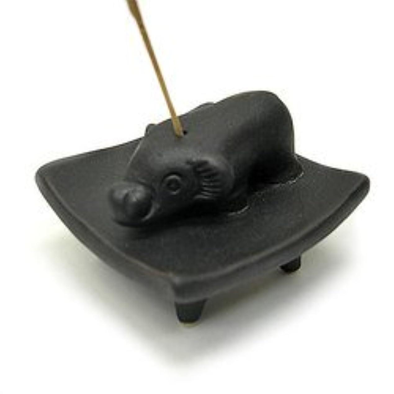 織機先住民慣れているお皿に乗った象さん お香立て<黒> インセンスホルダー/スティックタイプ用お香立て?お香たて アジアン雑貨