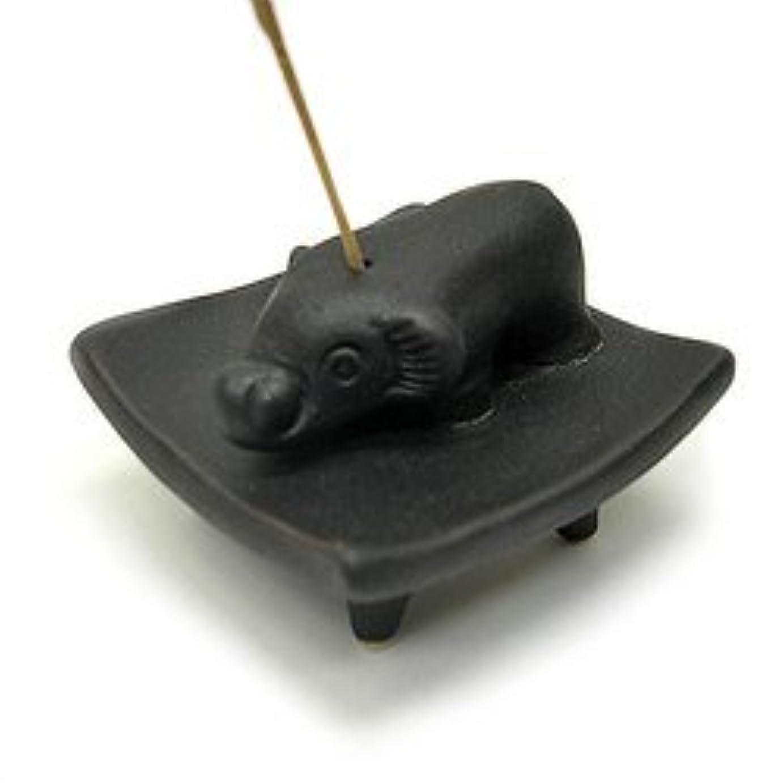 避難メインリードお皿に乗った象さん お香立て<黒> インセンスホルダー/スティックタイプ用お香立て?お香たて アジアン雑貨