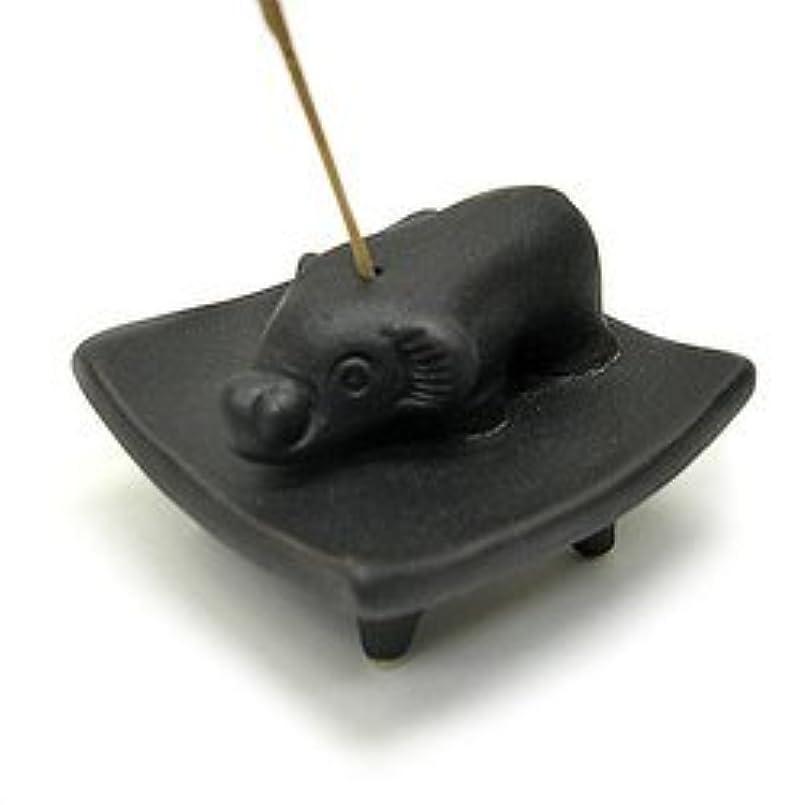 幸運な正当化するとお皿に乗った象さん お香立て<黒> インセンスホルダー/スティックタイプ用お香立て?お香たて アジアン雑貨