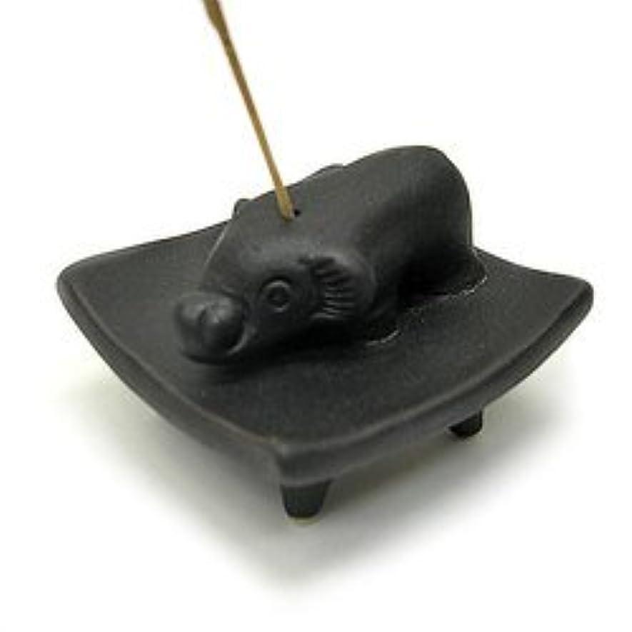 恩赦上アッパーお皿に乗った象さん お香立て<黒> インセンスホルダー/スティックタイプ用お香立て?お香たて アジアン雑貨