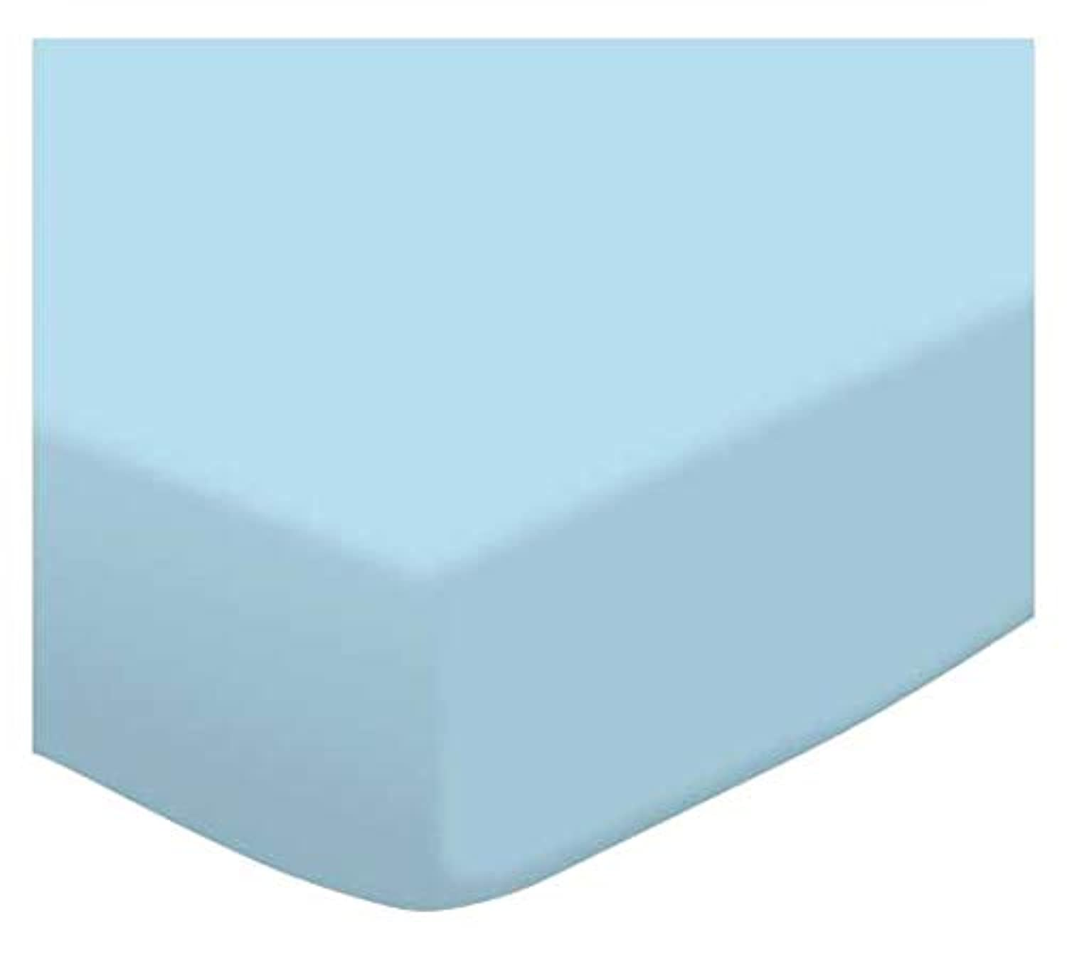 SheetWorld Fitted Pack N Play (Graco Square Playard) Sheet - Flannel FS9 - Aqua blue - Made In USA by sheetworld