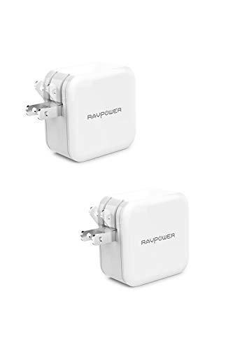 RAVPower USB 充電器 2ポート 24W 最大出力5V,4.8A/急速/折畳式プラグ iPhone/iPad/Android 等のUSB機器対応 RP-UC11 (オフホワイト)