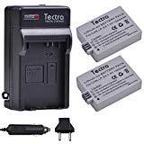 Tectra LP-E5バッテリー(2パック) + 充電器キット CanonLP-E5とCanon EOS Rebel XS、Rebel XSi、1000D、500D、450D、Kiss X3、Kiss X2、Kiss F Rebel T1i デジタルカメラ用