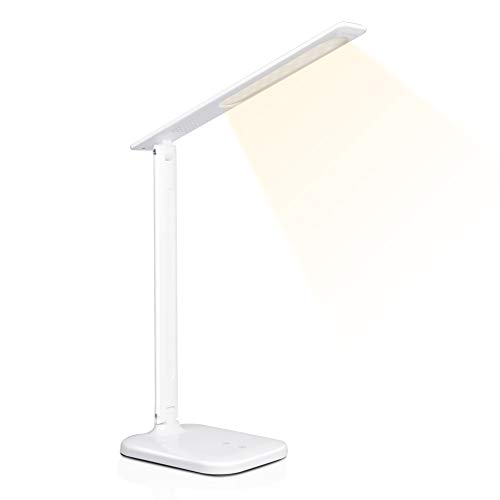 デスクライト LED 電気スタンド 卓上ライト 目に優しい 省エネ 机 テーブルスタンド タッチセンサー調光 USBポート付け 読書 勉強 仕事 ホワイト