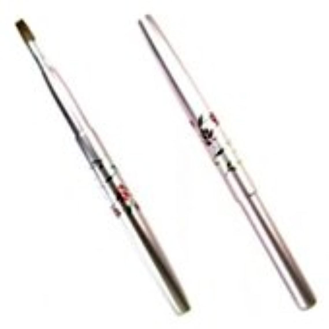 宮尾産業化粧筆(メイクブラシ) MUシリーズ-3 携帯用リップブラシ 花柄ピンク セーブル100% /熊野筆