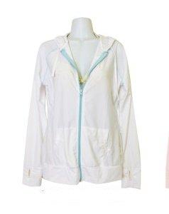 UVケア レディース ラッシュガード 長袖 ラッシュパーカー 全6色 UVカット (M-L, ホワイト)