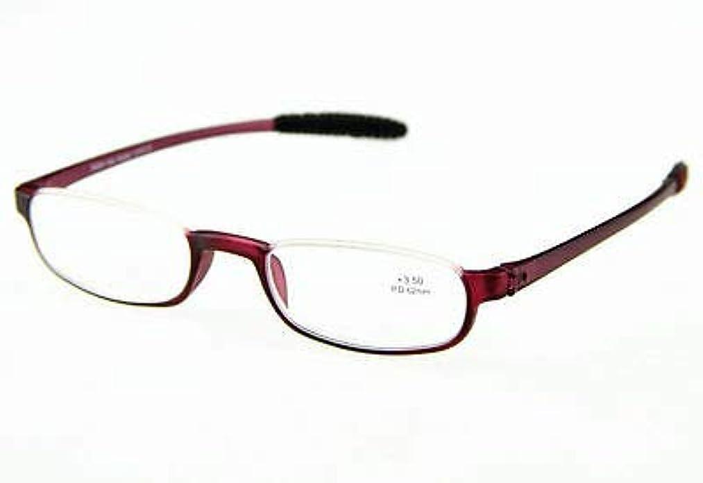 FidgetGear オーバルハーフリムレスフレームTR 90材料柔軟な老眼鏡男性女性読者 ワインレッド