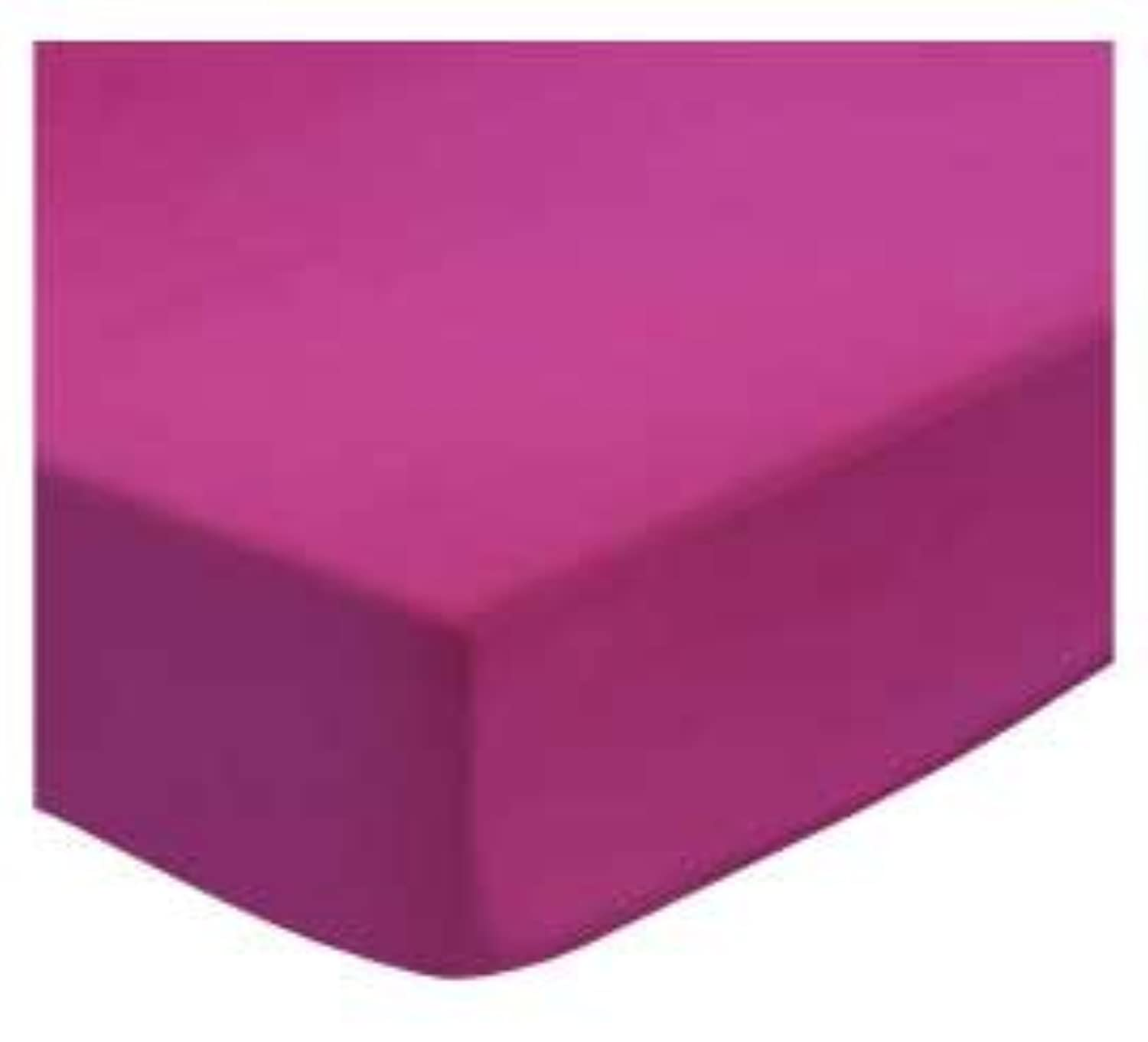 SheetWorld Fitted Pack N Play (Graco) Sheet - Hot Pink Woven - Made In USA by sheetworld