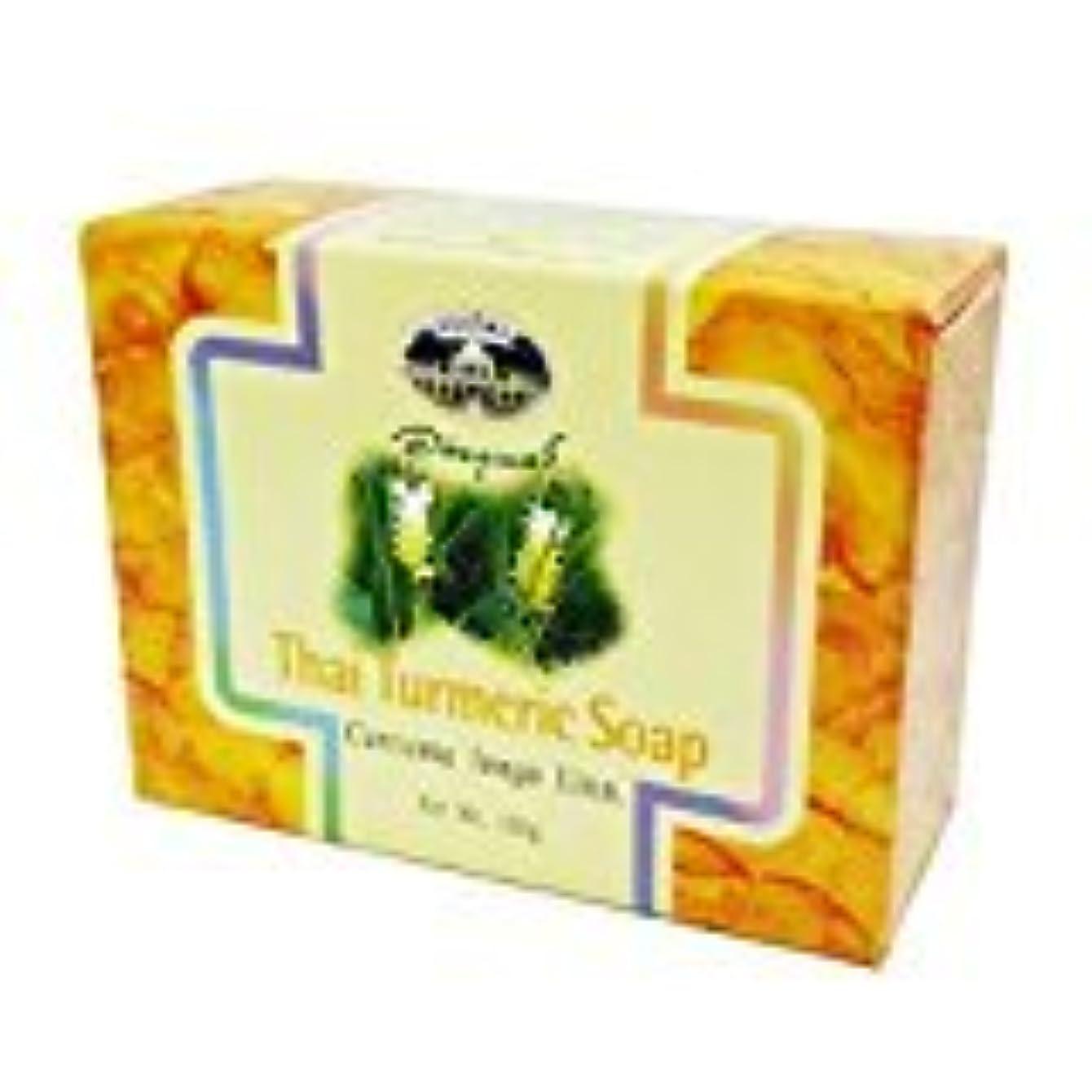 示す論理的ダイアクリティカルウコン石けん abhaibhubejhr Turmeric soap 100g