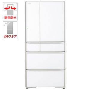 日立 670L 6ドア冷蔵庫(クリスタルホワイト)HITACHI 真空チルド R-XG6700G-XW