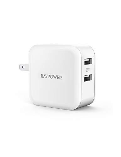 RAVPower USB 充電器 2ポート 24W アダプタ USB コンセント【PSE認証済み/急速/折畳式プラグ】 iPhone/iPad/Android 等のUSB機器対応 RP-UC11 (ホワイト)
