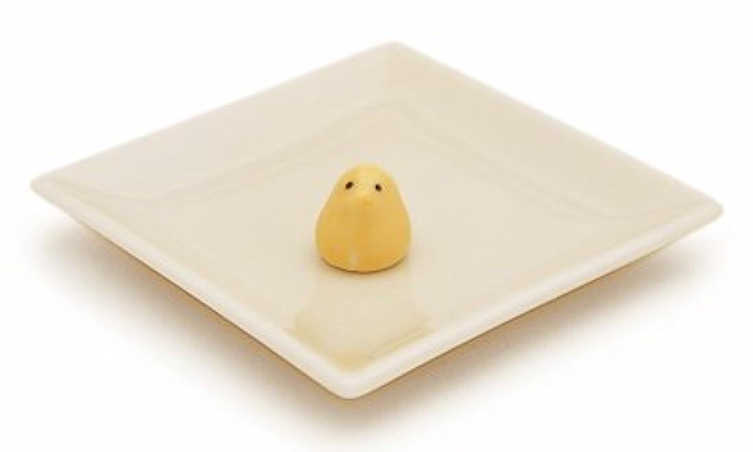 省ホスト職人陶器香皿&ヒヨコ香立(アイボリー)