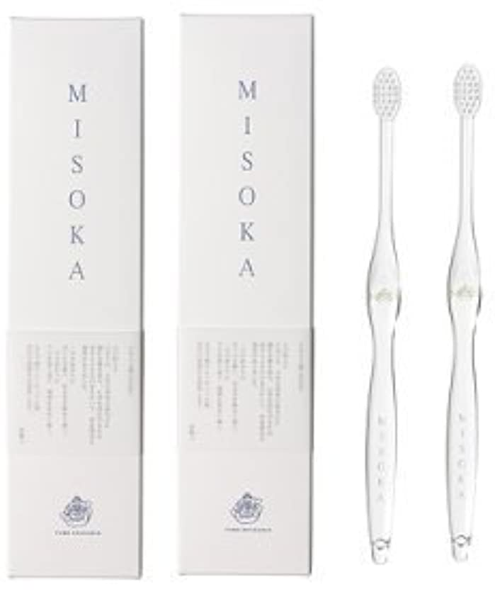 コントロール没頭する使用法MISOKA(ミソカ) 歯ブラシ 若草色 2本セット