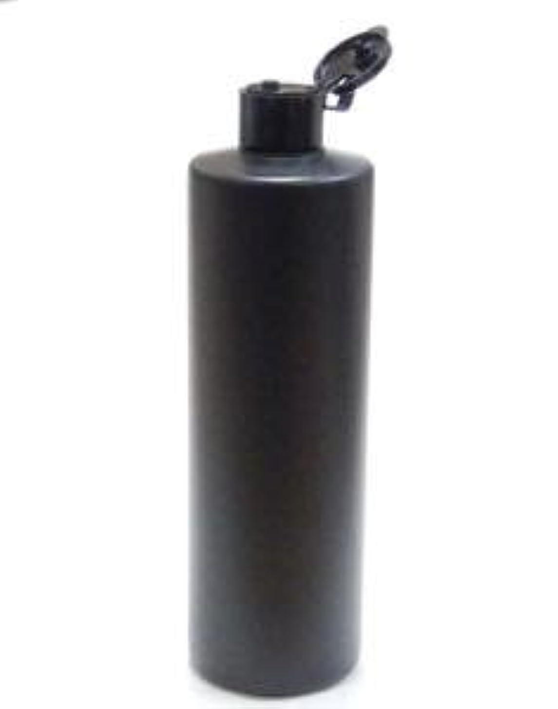 天使強制警告するプラスチック容器 500mL PE ストレートボトル 遮光黒【ヒンジキャップ:ブラック】