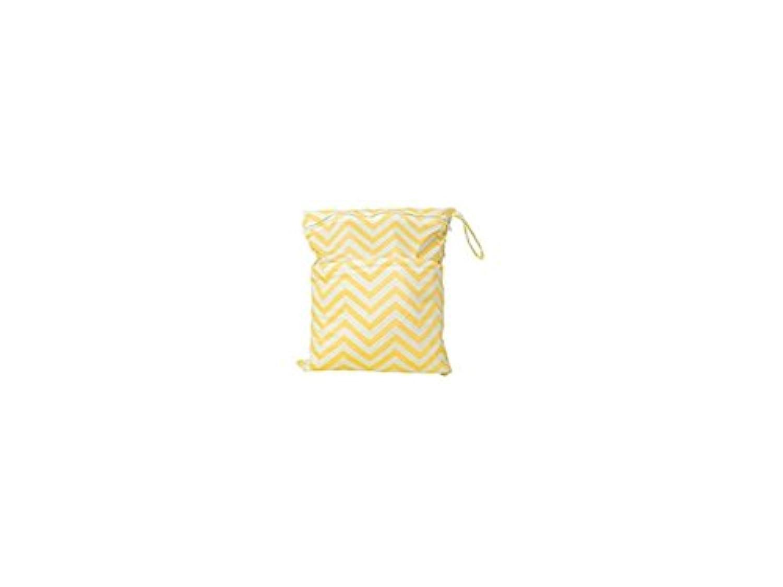 FenBuGu-JP 興味深い 2 - ジップベイビー布のおむつのバッグの波のパターン黄色と白