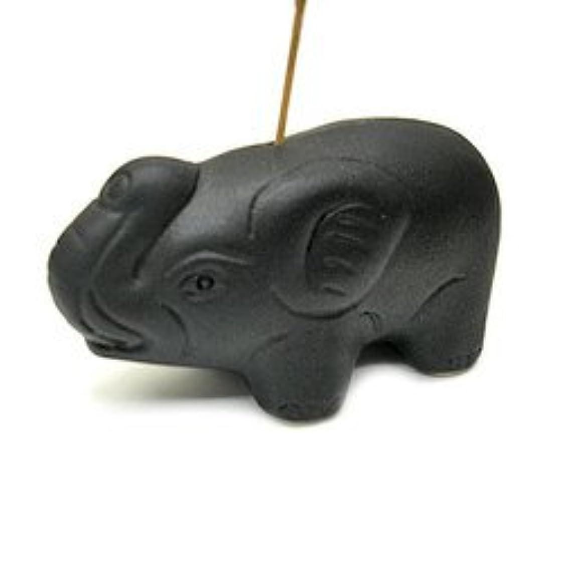 レスリングマート容疑者象さんのお香立て <黒> インセンスホルダー/スティックタイプ用お香立て?お香たて アジアン雑貨