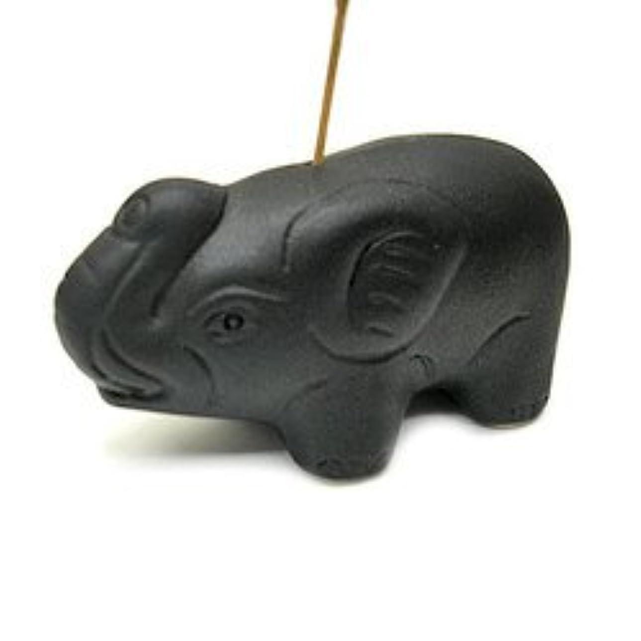 プロトタイプ静かな手つかずの象さんのお香立て <黒> インセンスホルダー/スティックタイプ用お香立て?お香たて アジアン雑貨