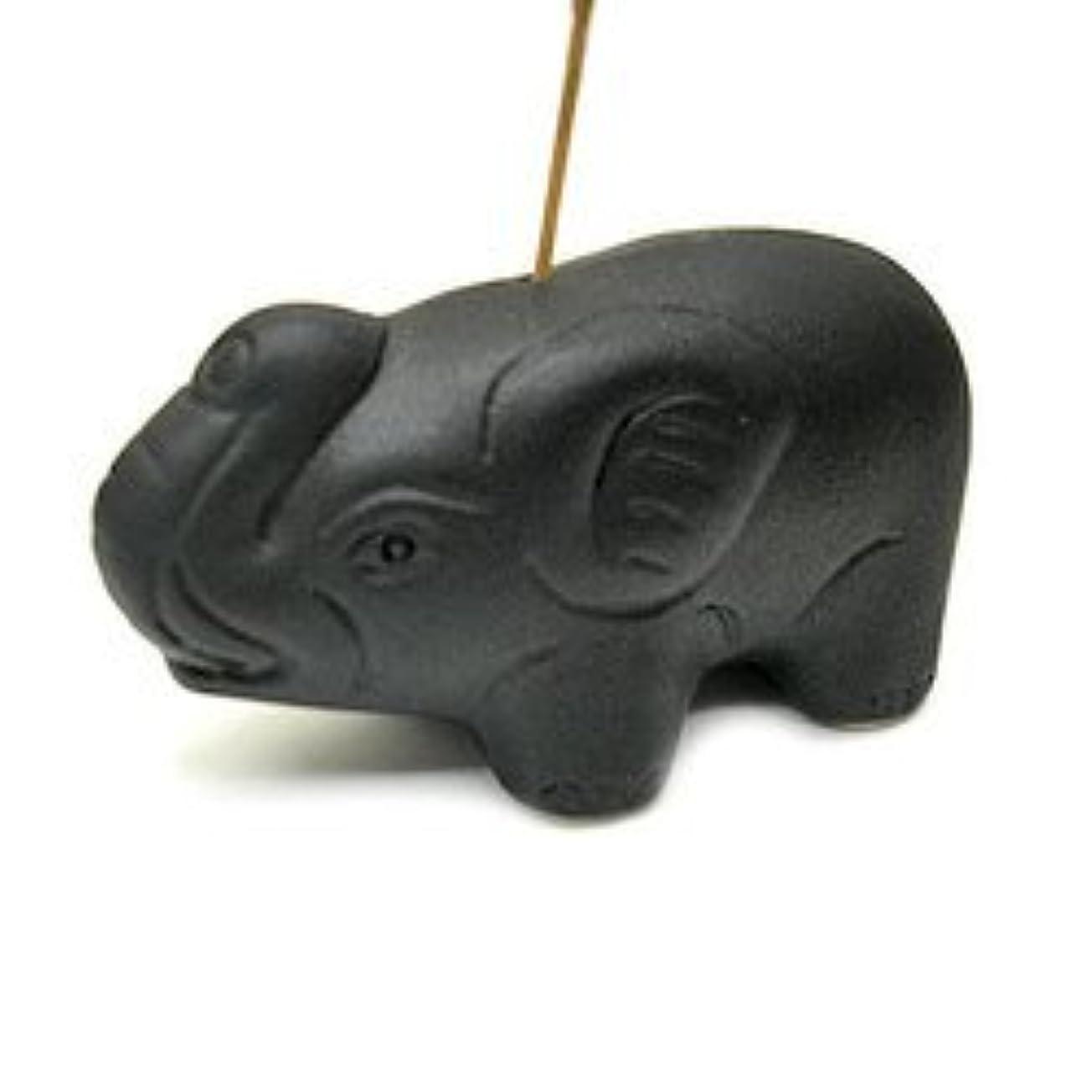 六急速なうれしい象さんのお香立て <黒> インセンスホルダー/スティックタイプ用お香立て?お香たて アジアン雑貨