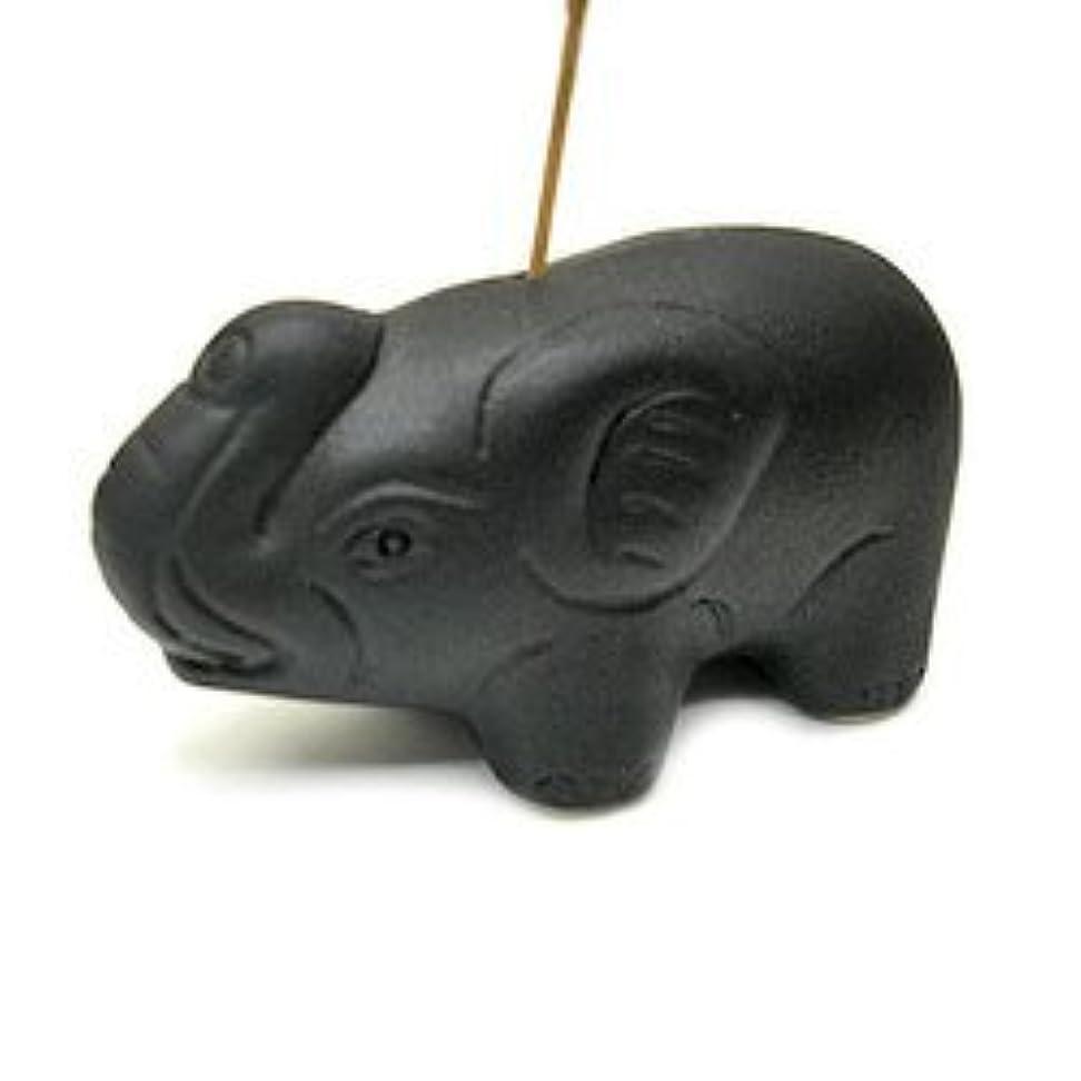 郡アジャ疑い者象さんのお香立て <黒> インセンスホルダー/スティックタイプ用お香立て?お香たて アジアン雑貨