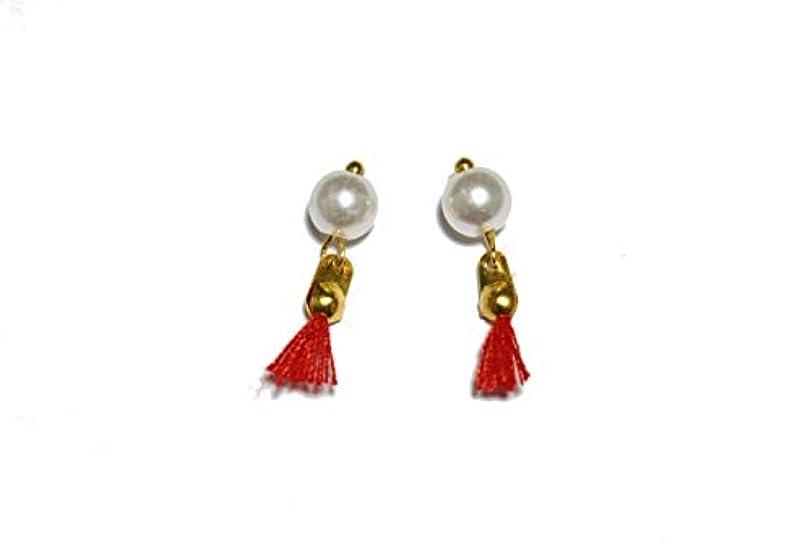 資産ジョリー伝統【jewel】パール付き タッセルジュエリーパーツ 2個 7色から選択可能 ラインストーン (レッド)