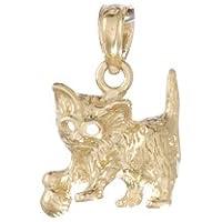 14Kイエローゴールド動物チャーム、Feline Cat withボール&カットアウトEyes