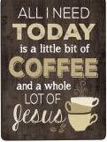 All I Need Is Coffee & Jesusアンティーク調木製Look 3X 4インチ木製リトグラフマグネット