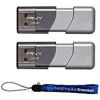 PNY USB 3.0 フラッシュドライブ エリート ターボアタッシュ 3 2パックバンドル + (1) Everything But Stromboli ランヤード (2パック) 256GB, グレー)