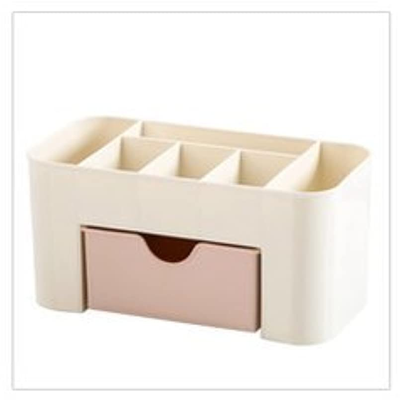 幸運祈るセッション化粧品収納ボックス化粧品引き出し仕上げボックスデスクトップジュエリースキンケアパックフレームドレッサー (Color : ピンク)