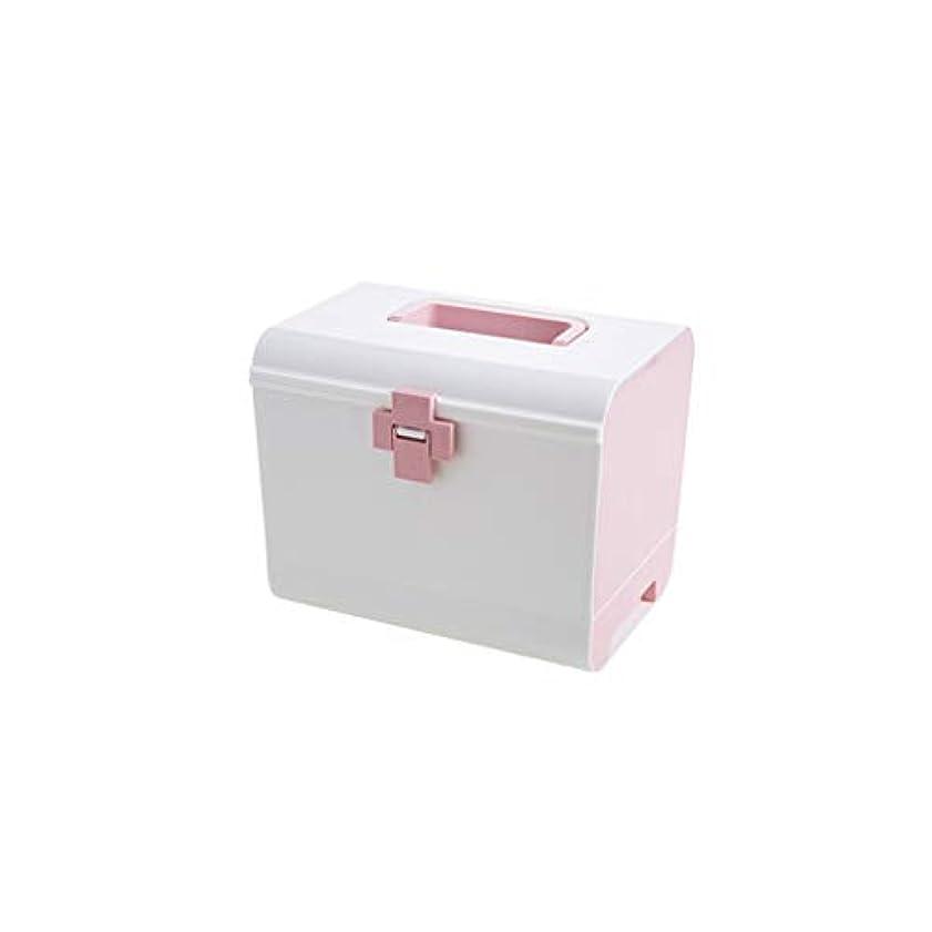 脅威シミュレートする費用プラスチック多層薬箱家族大応急処置キット薬箱大容量薬収納ボックスポータブル医療箱 CQQO (Color : Pink)