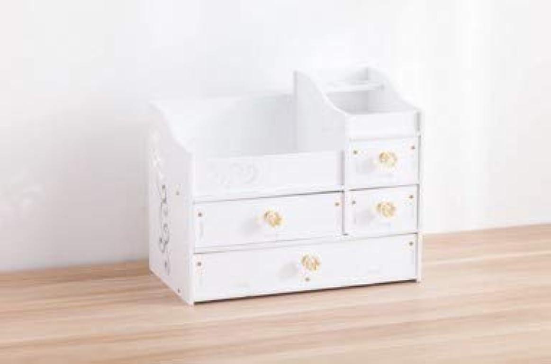 デスクトップスキンケア化粧台ジュエリーボックスクリスタルハンドル引き出し収納ボックス木製化粧品収納ボックス